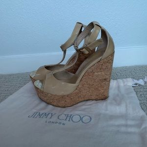 Jimmy Choo Patented Leather Wedges